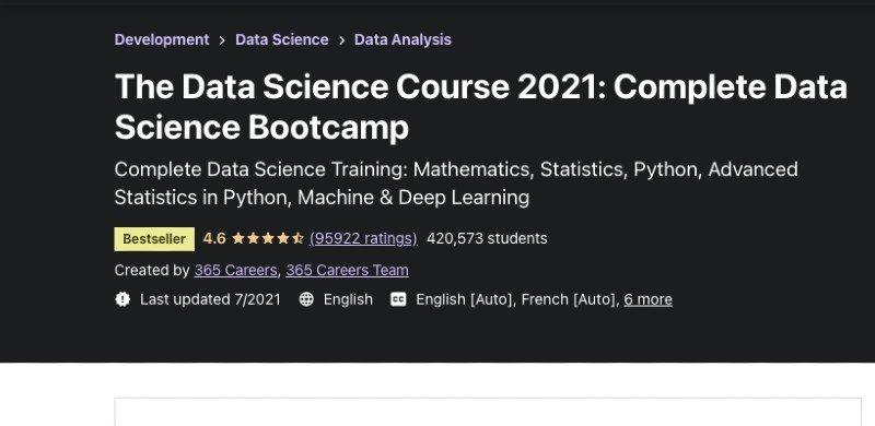 Udemy's data science beginner course