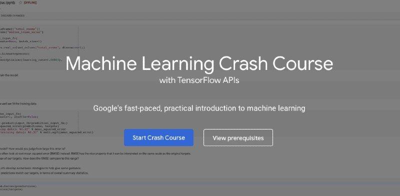 Google's machine learning crash course