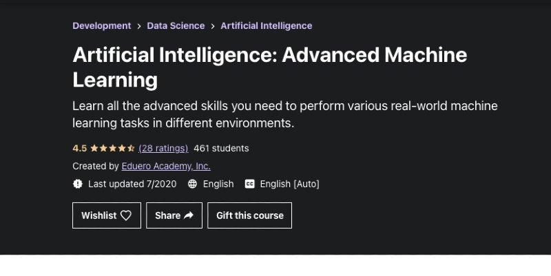 Udemy's advanced AI machine learning course